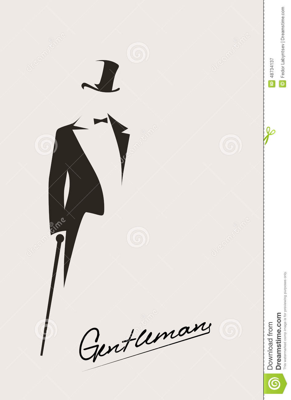 Silhouette Of A Gentleman In A Tuxedo Stock Vector - Image: 48734137