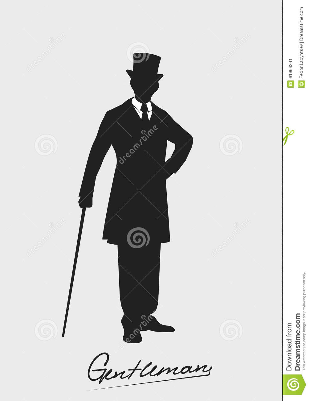Silhouette Of A Gentleman In A Tuxedo Stock Vector - Image ...