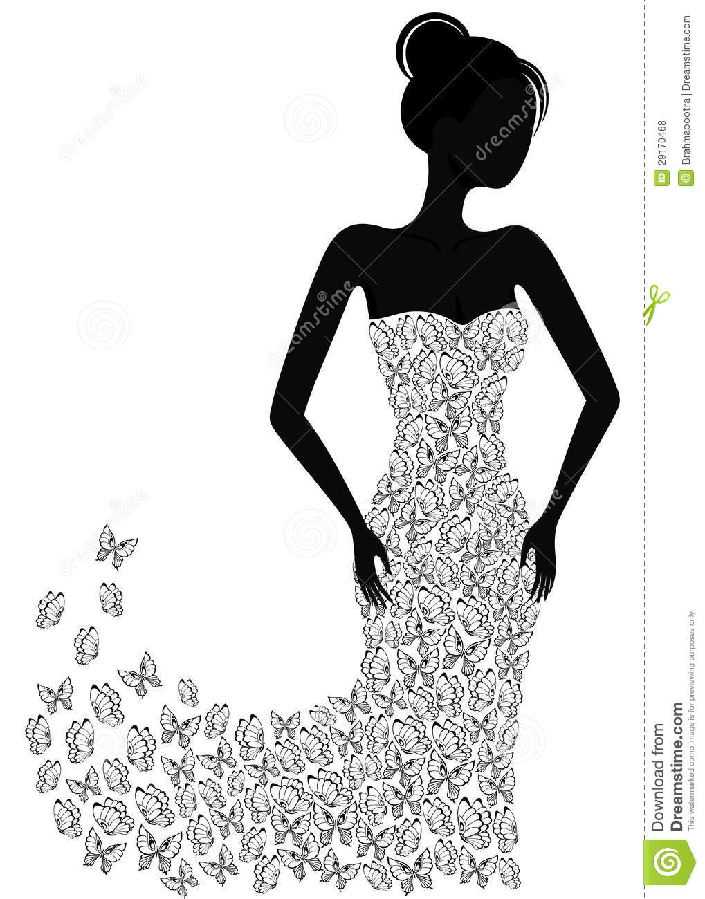 Silhouette Of A Girl In A Flying Apart Dress Stock Vector ...