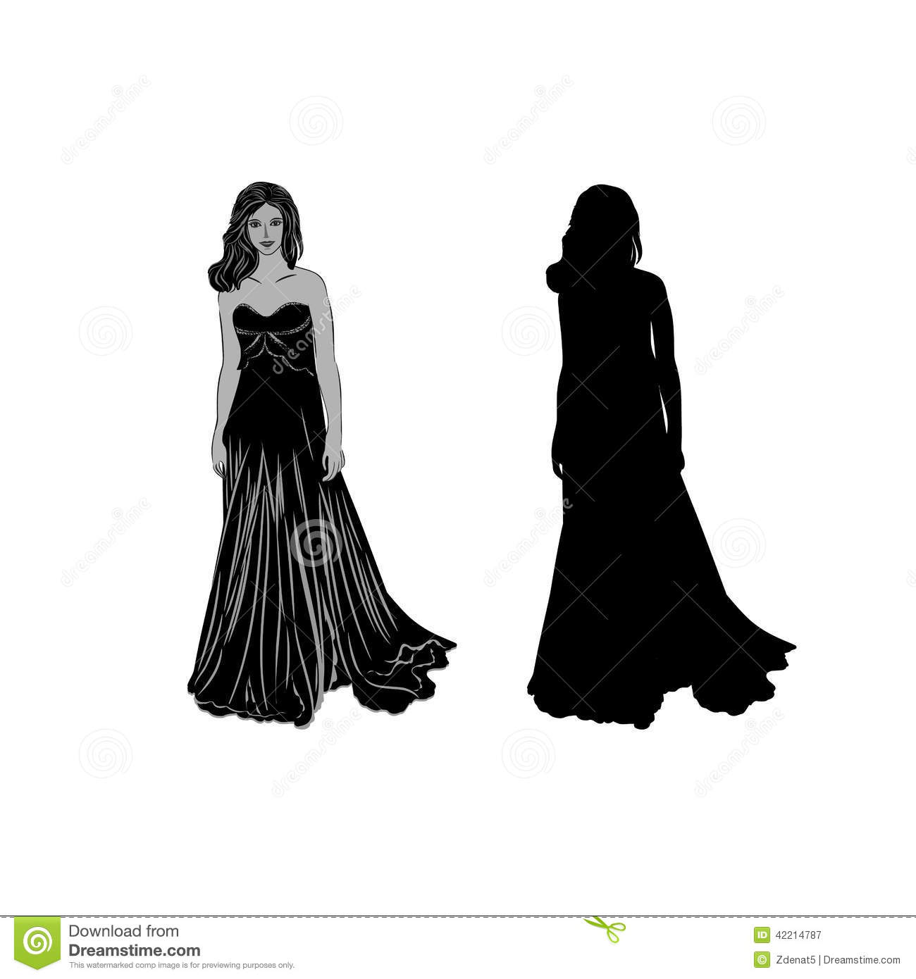 Silhouette Of A Girl In Long Dress Vector Stock Vector ...