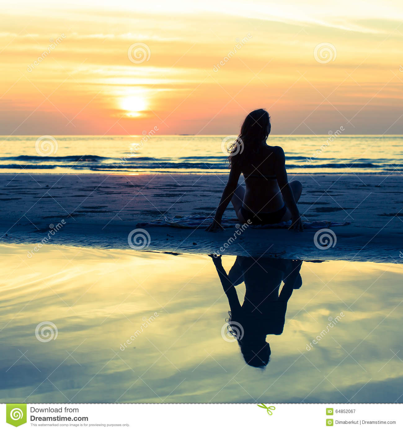 Beautiful Woman Face Over Beach Sunset Stock Image: Silhouette Girl With Long Hair On The Beach During Sunset