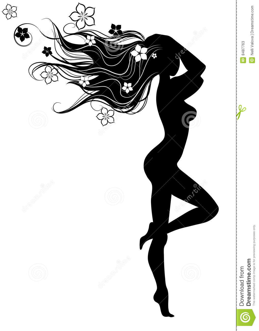 Silhouette Of Girl With Long Hairs Stock Vector