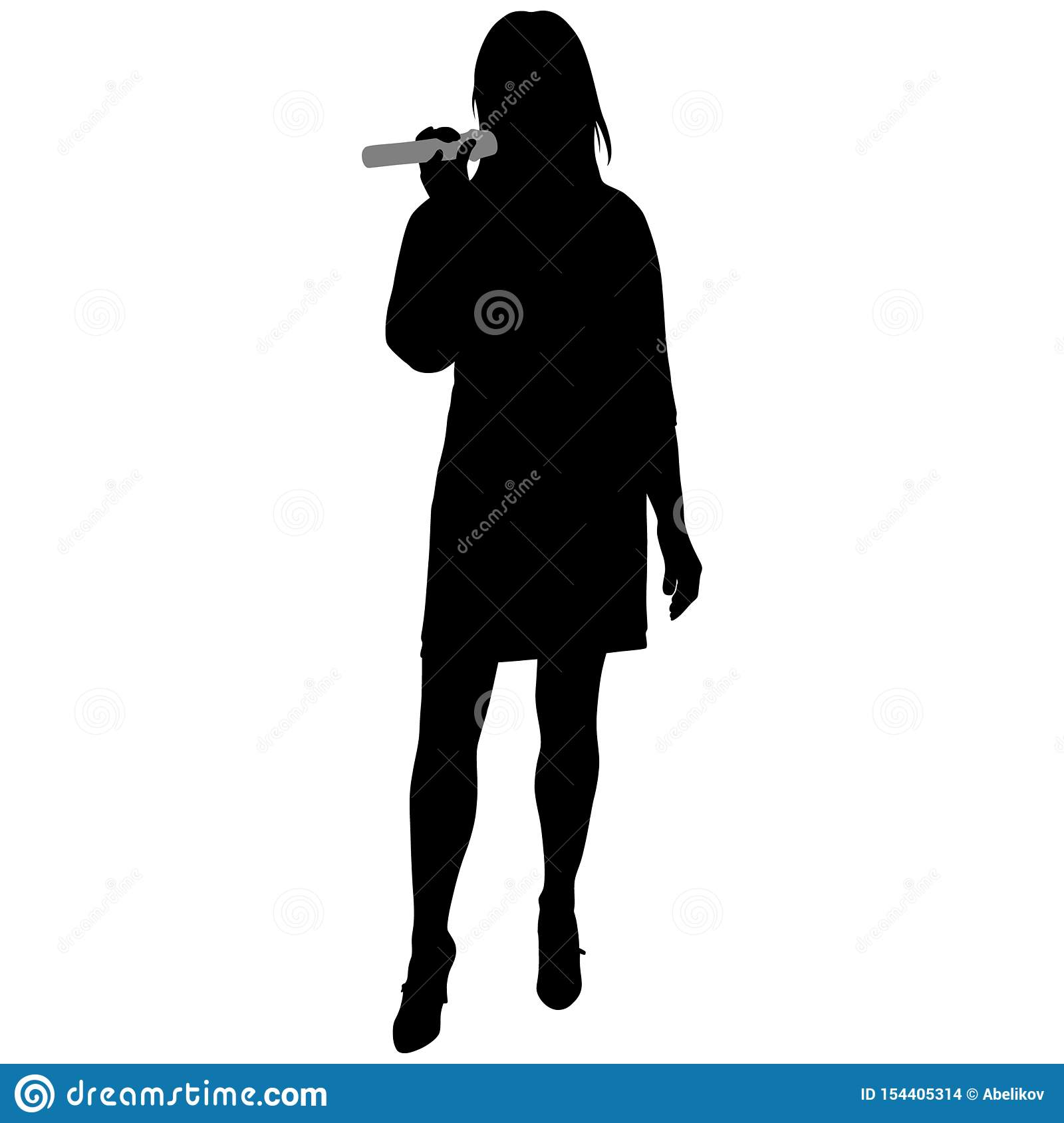 Silhouette Of Girl In Short Dress With Microphone Stock ...