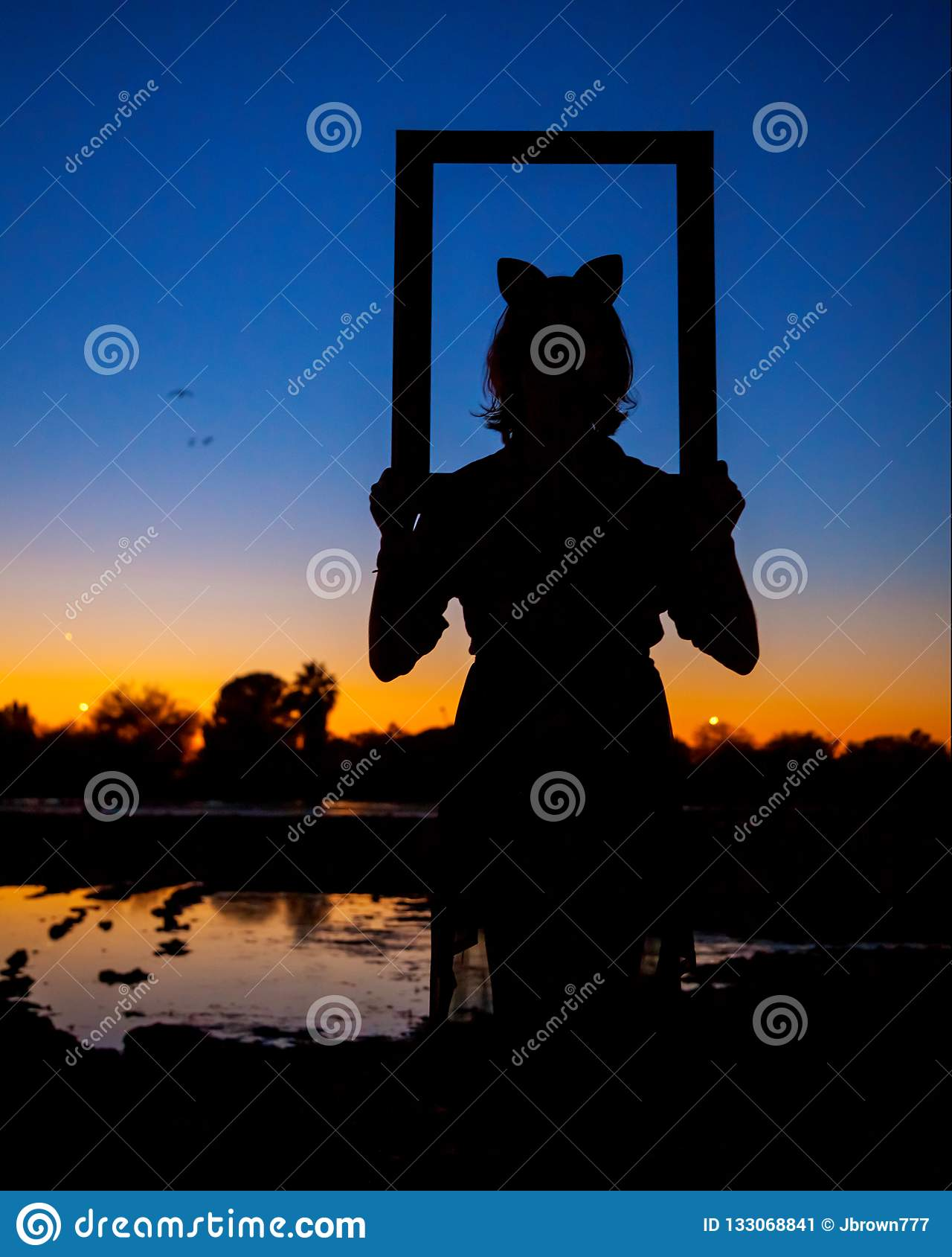 Silhouette of a Girl with Cat Ears Looking Through a Picture Fr