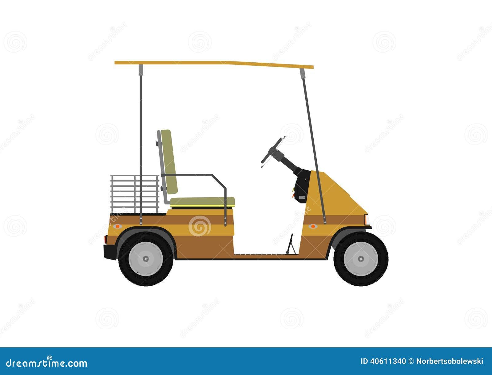Golf Cart Cartoon Silhouette of golf cart.