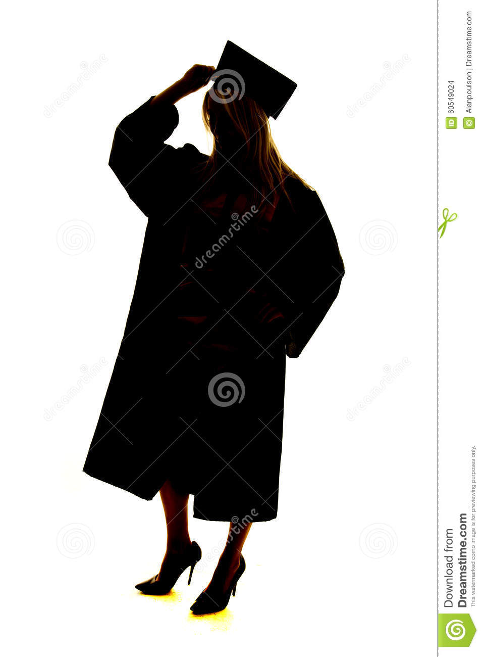 silhouette graduate touch hat stock photo