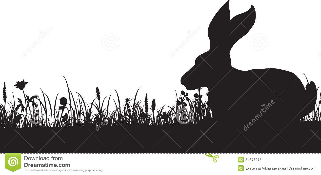 Rabbit Ears Silhouette Silhouette of grass and rabbit