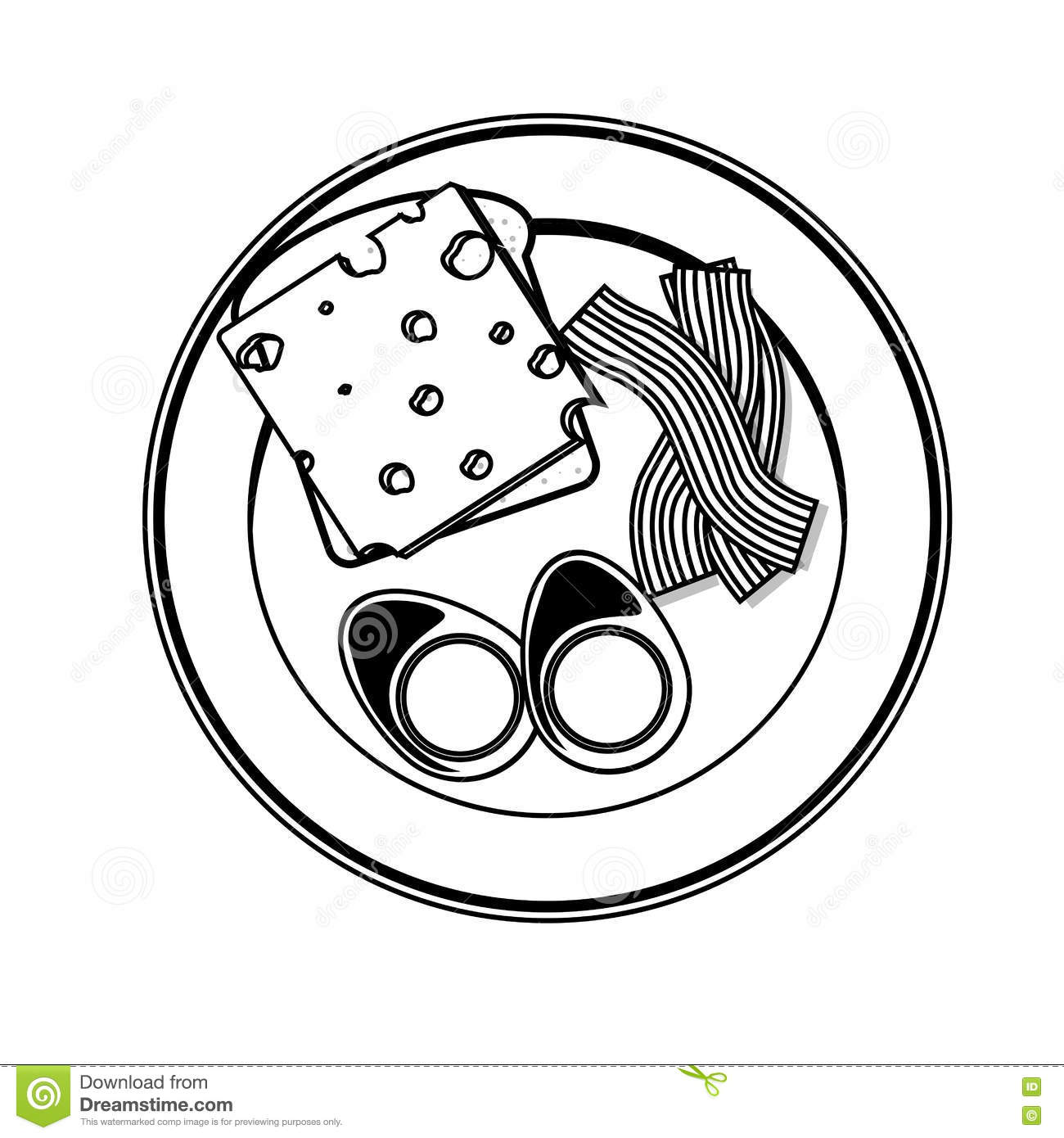 silhouette gray scale plate with eggs cheese and bacon