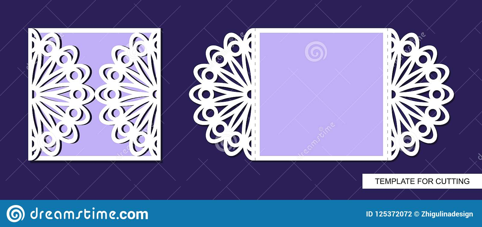 Silhouette Of Greeting Card Template For Laser Cutting Die Or
