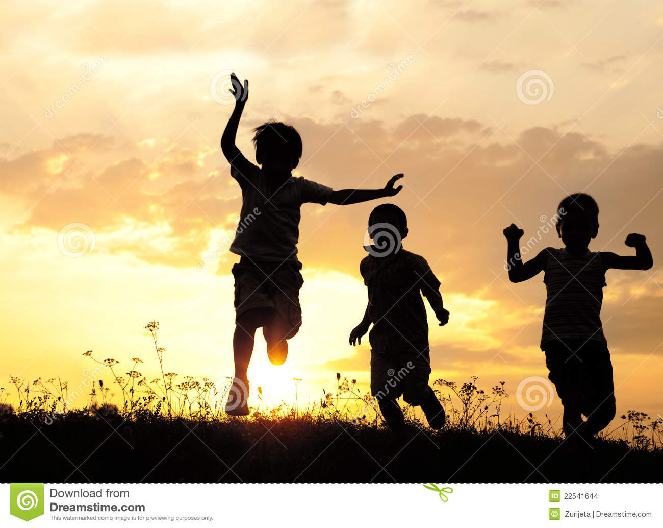 Silhouette, group of happy children