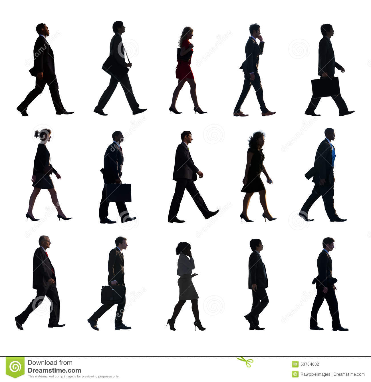Silhouette Group Of People In A Row Stock Photo - Image ...