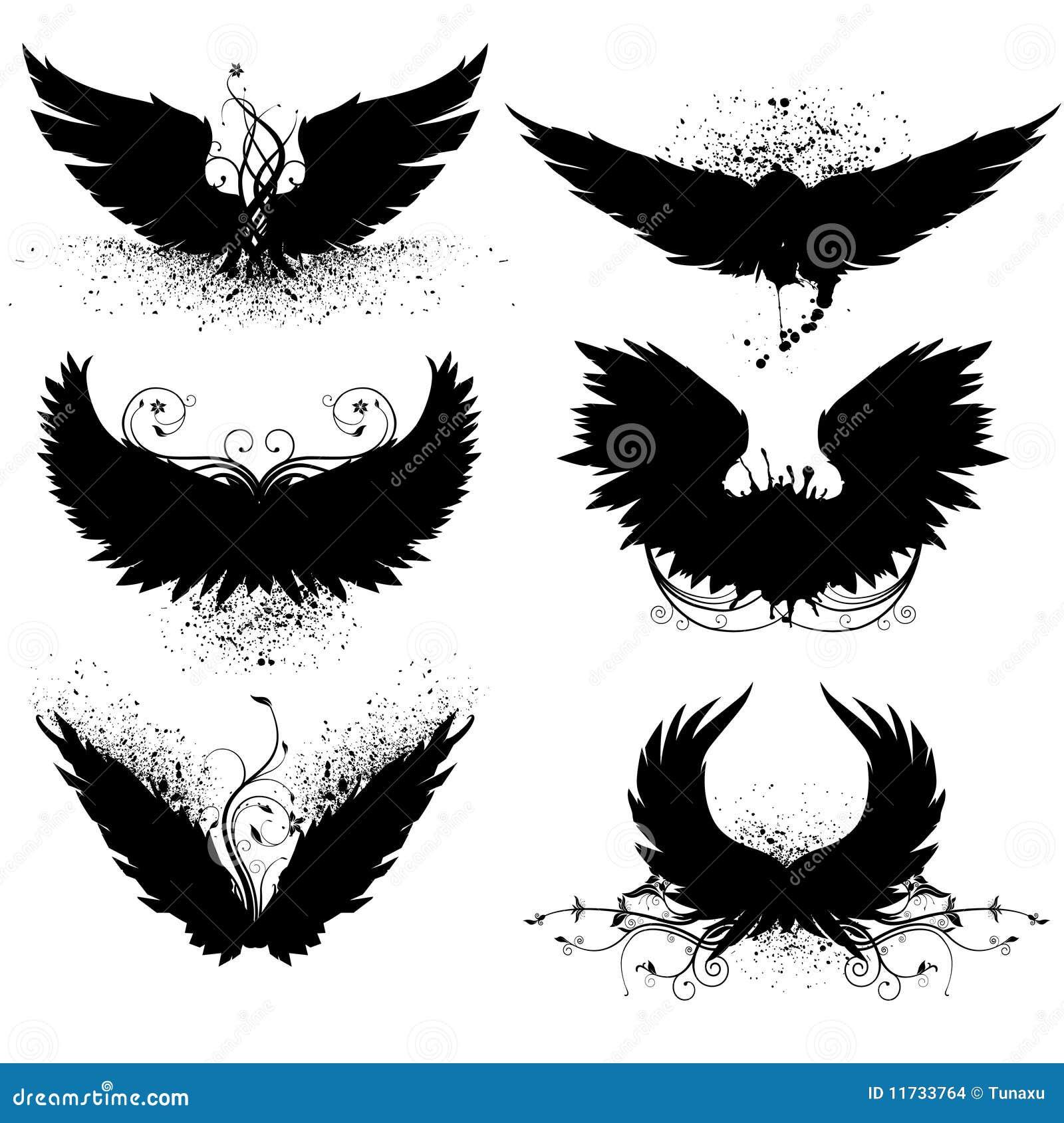 Silhouette grunge d 39 aile images stock image 11733764 - Aile de dragon dessin ...