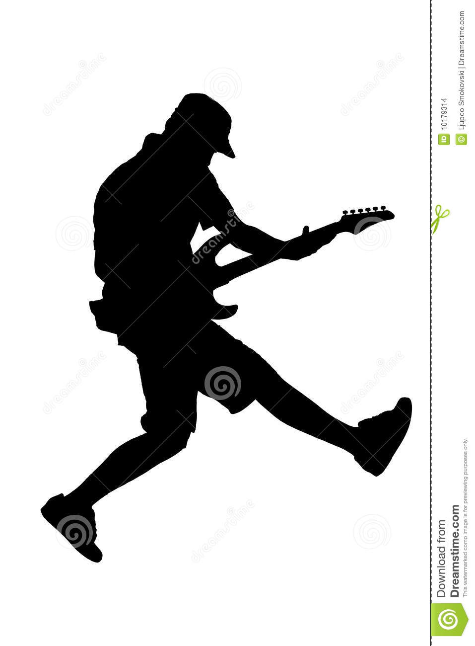 Silhouette of a guitar player jumping