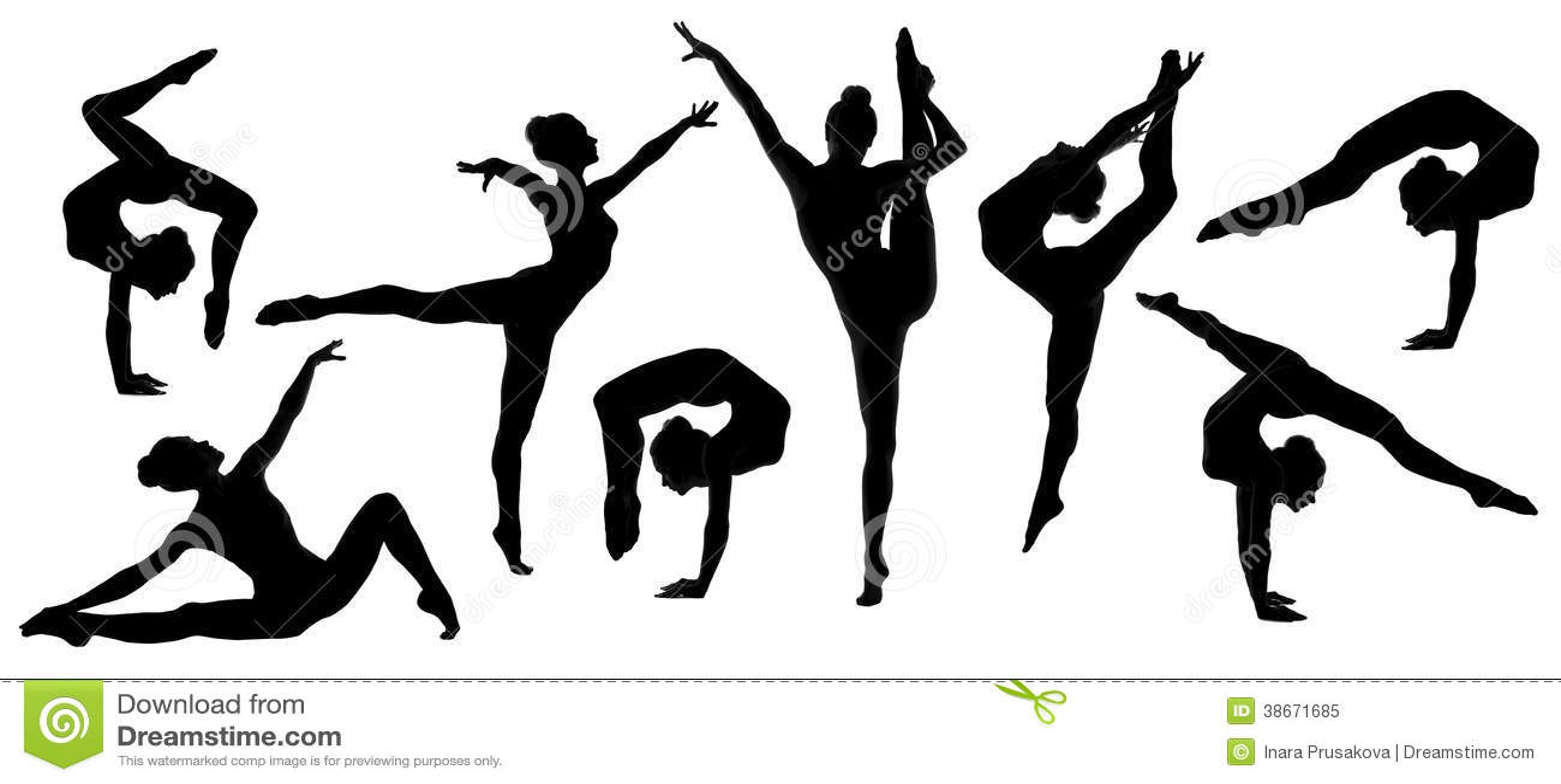 Silhouette Gymnast Dancer Ballerina Set Royalty Free Stock