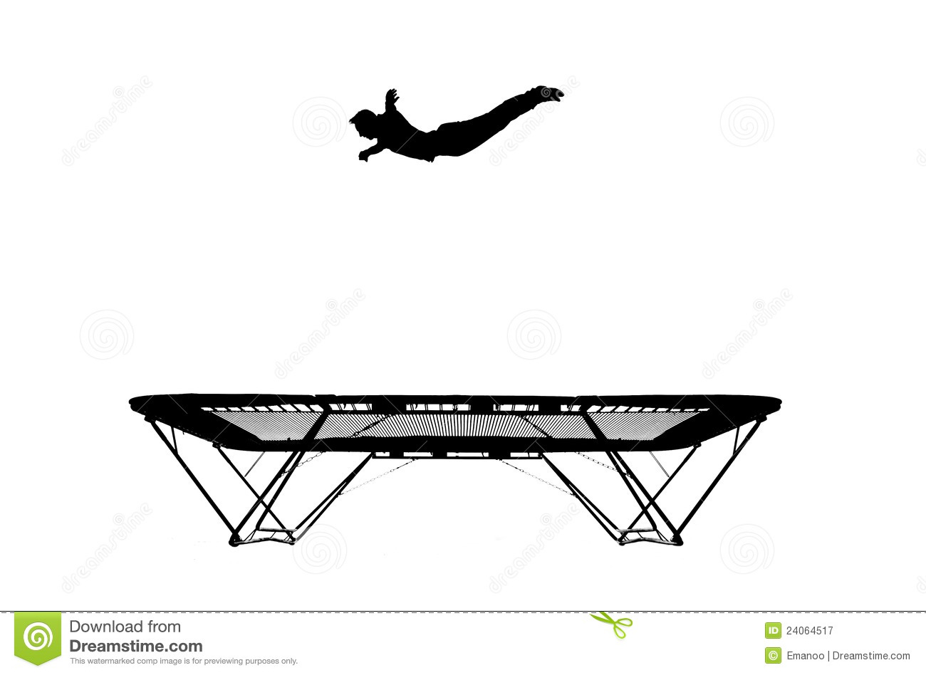 Silhouette Of Gymnast On Trampoline Stock Image Image