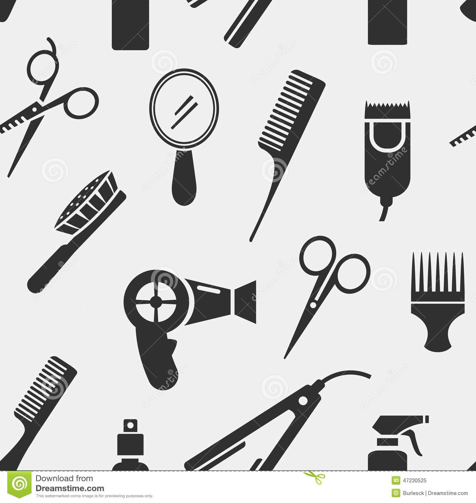 Kleurplaat Kappersspullen Silhouette Hairdressing Tools In Seamless Pattern Stock