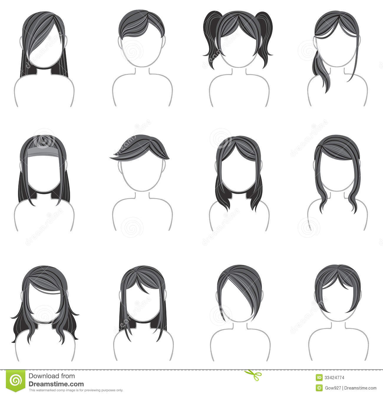 Hairstyle Vector : Silhouette hairstyle icon collection set 2, create by vector.