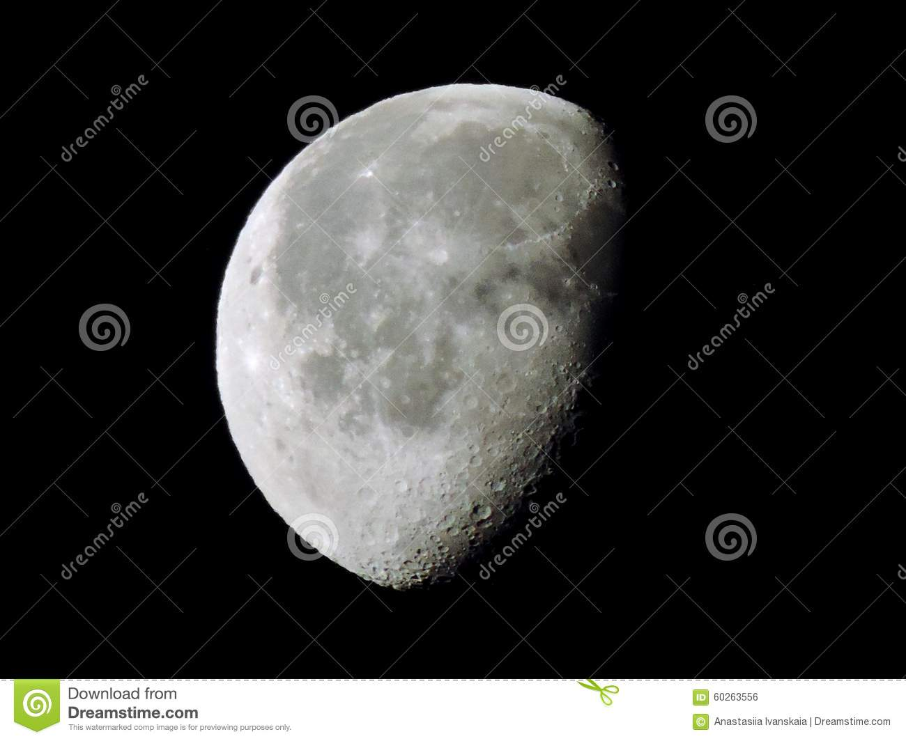 Silhouette Of Half Moon Isolated On A Black Background