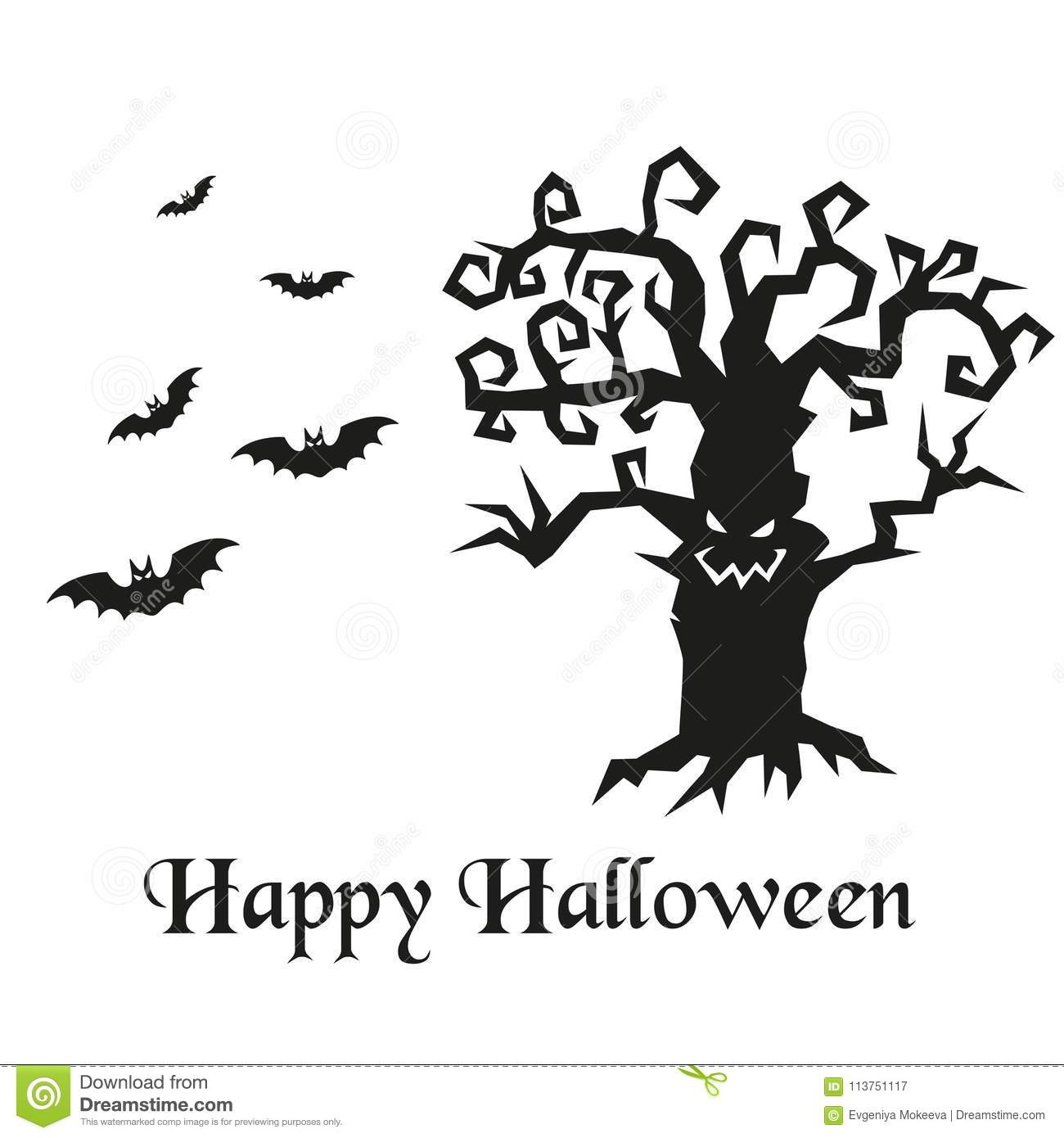 download silhouette of halloween tree and bats stock vector illustration of holiday celebration