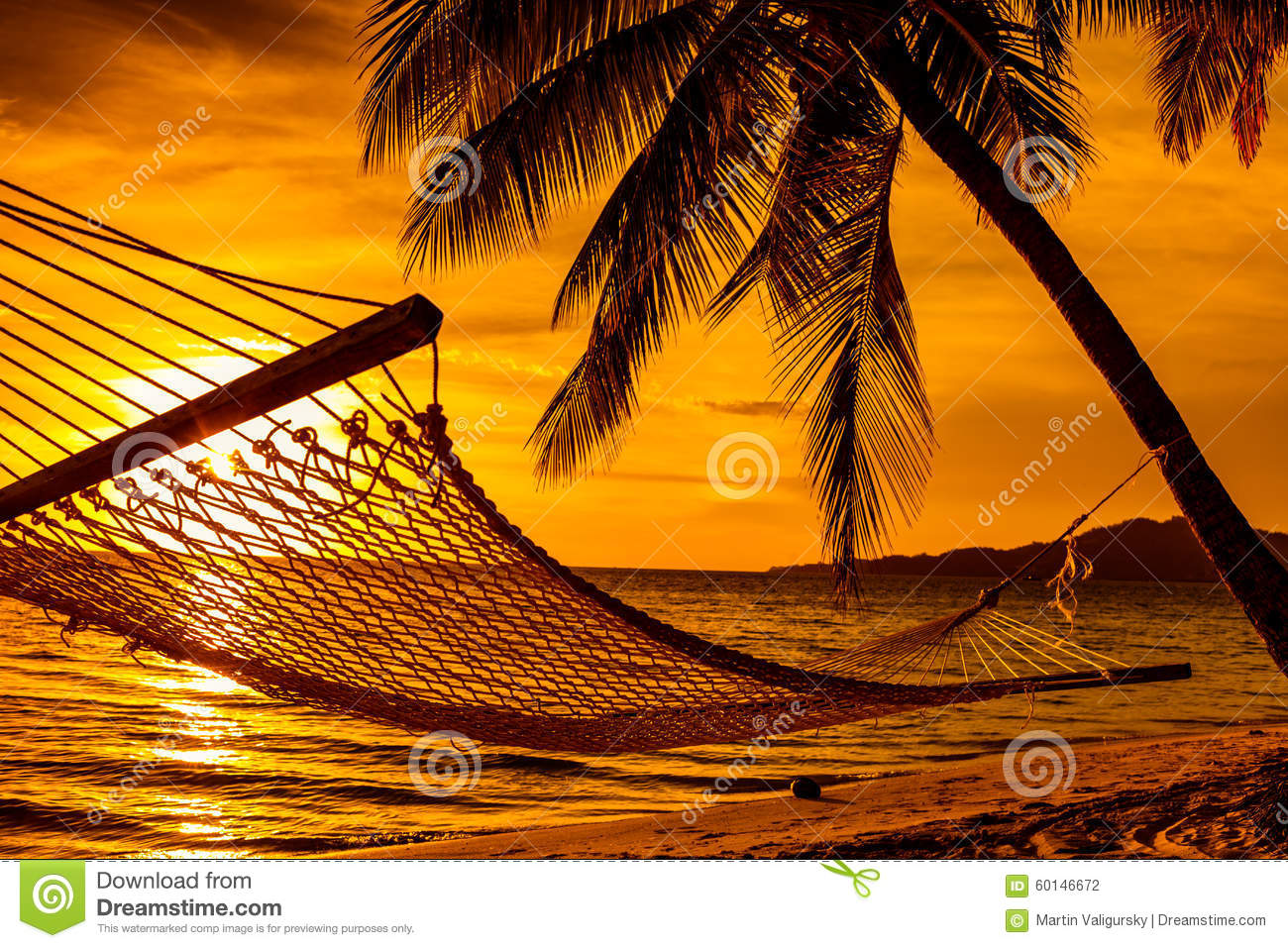 Silhouette Of Hammock And Palm Trees On A Beach At Sunset ...