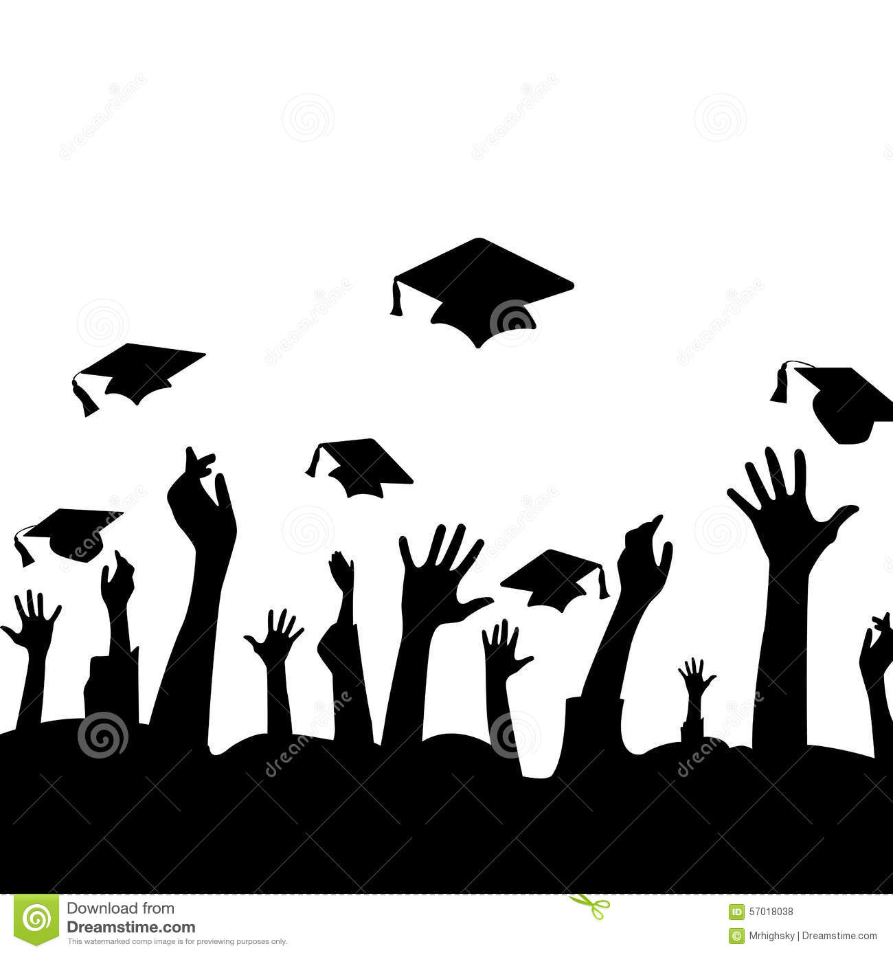 Silhouette Of Hands In The Air And Graduation Hats Stock ...