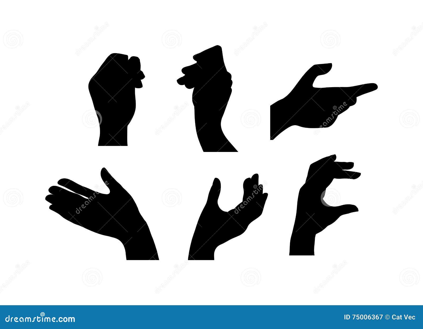 Silhouette Hands Symbols Vector Illustration Stock Vector