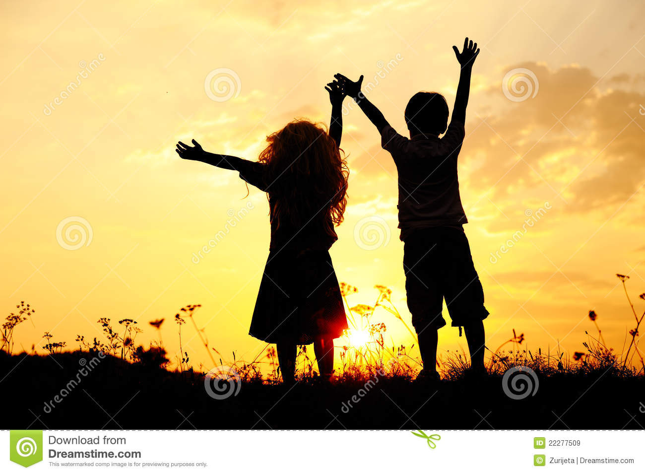 Silhouette, happy children playing