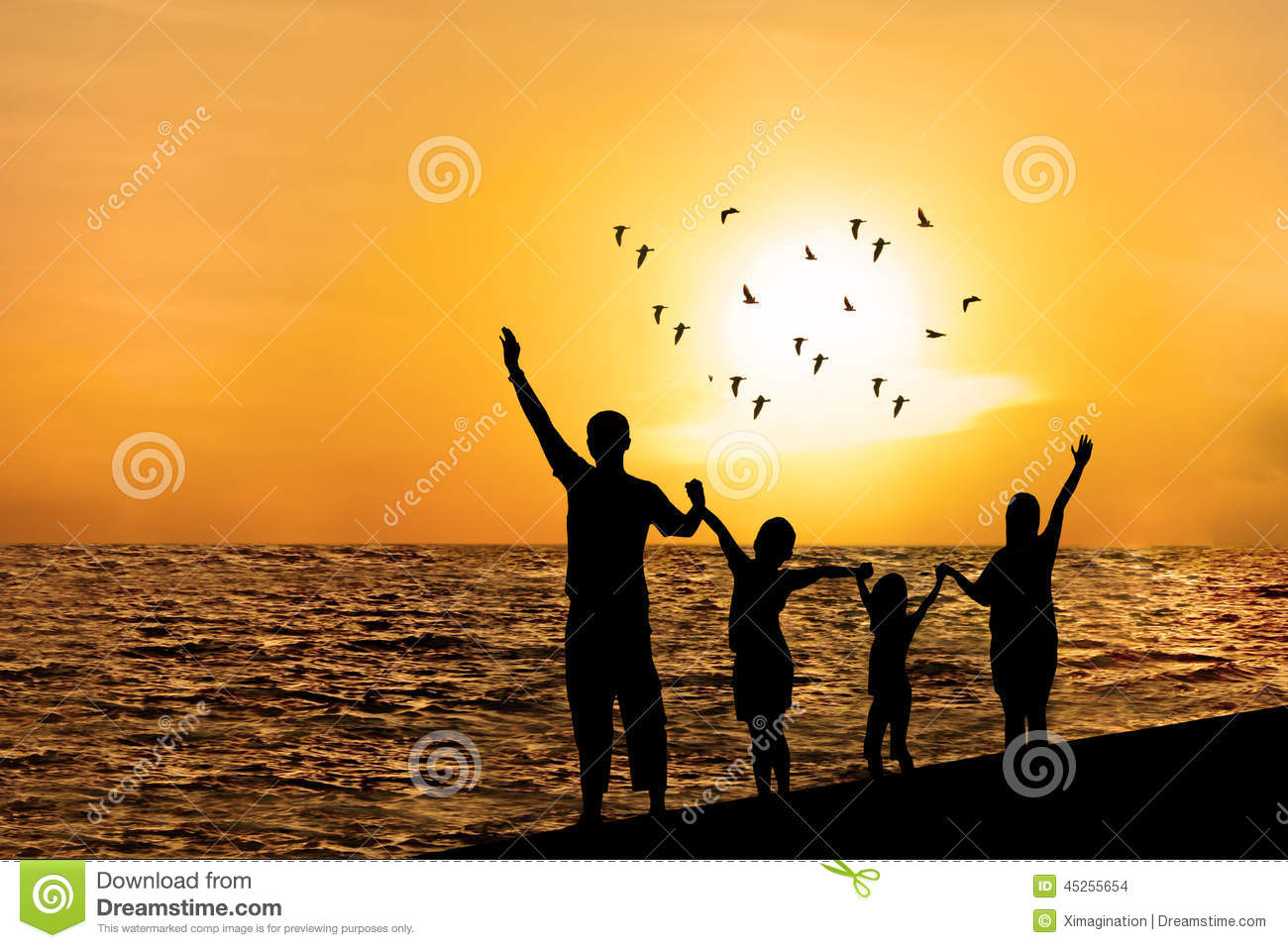 Family Playing Together Clipart Silhouette Of Happy Fa...