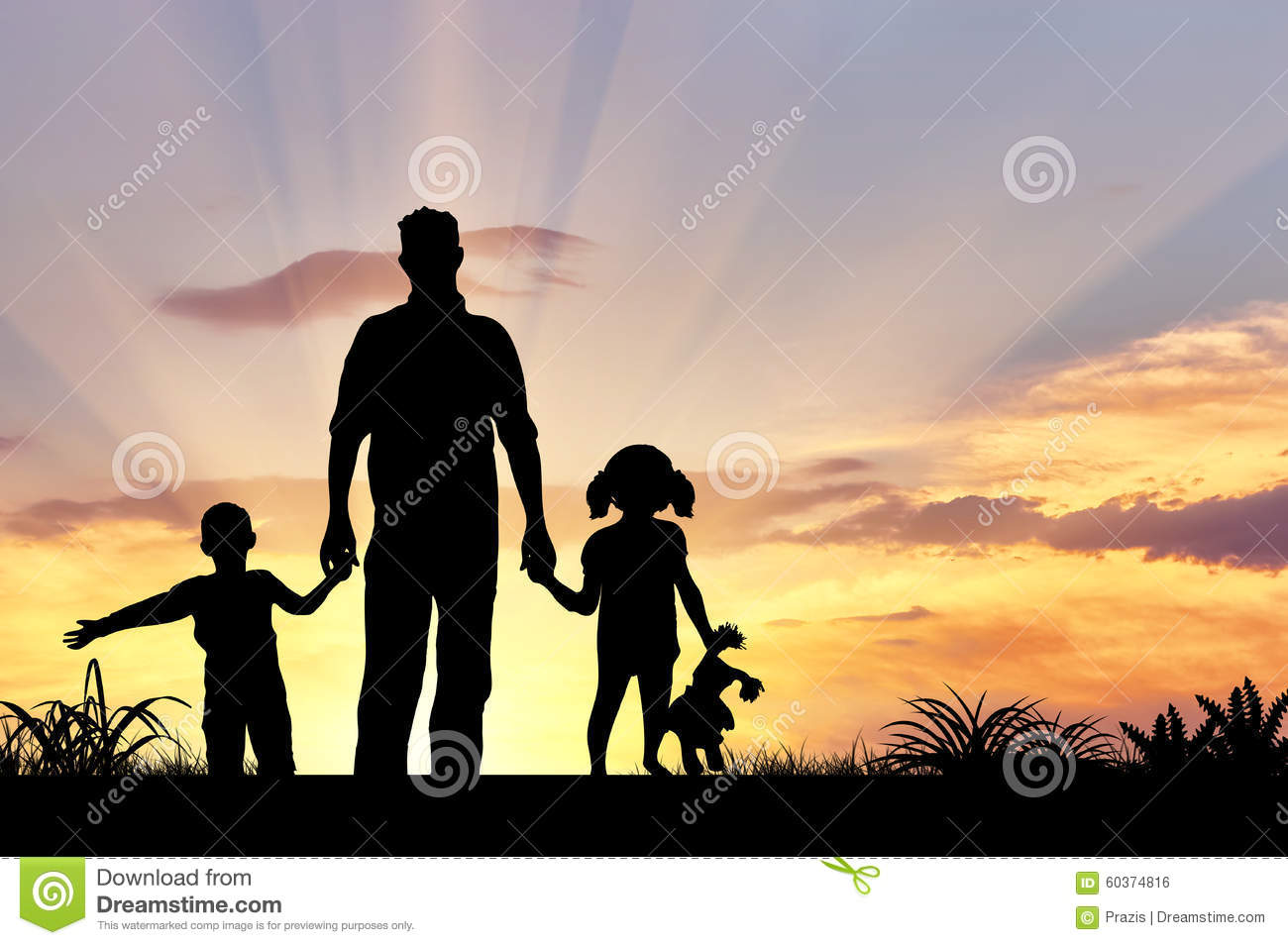 Silhouette Of A Happy Family Stock Photo - Image: 60374816