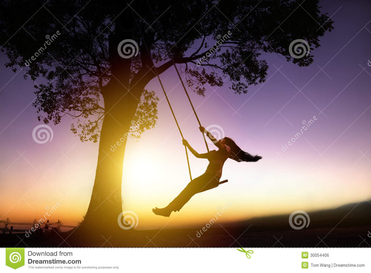 Download Silhouette Of Happy Young Woman On  Swing Stock Photo - Image of girl, asian: 30054406