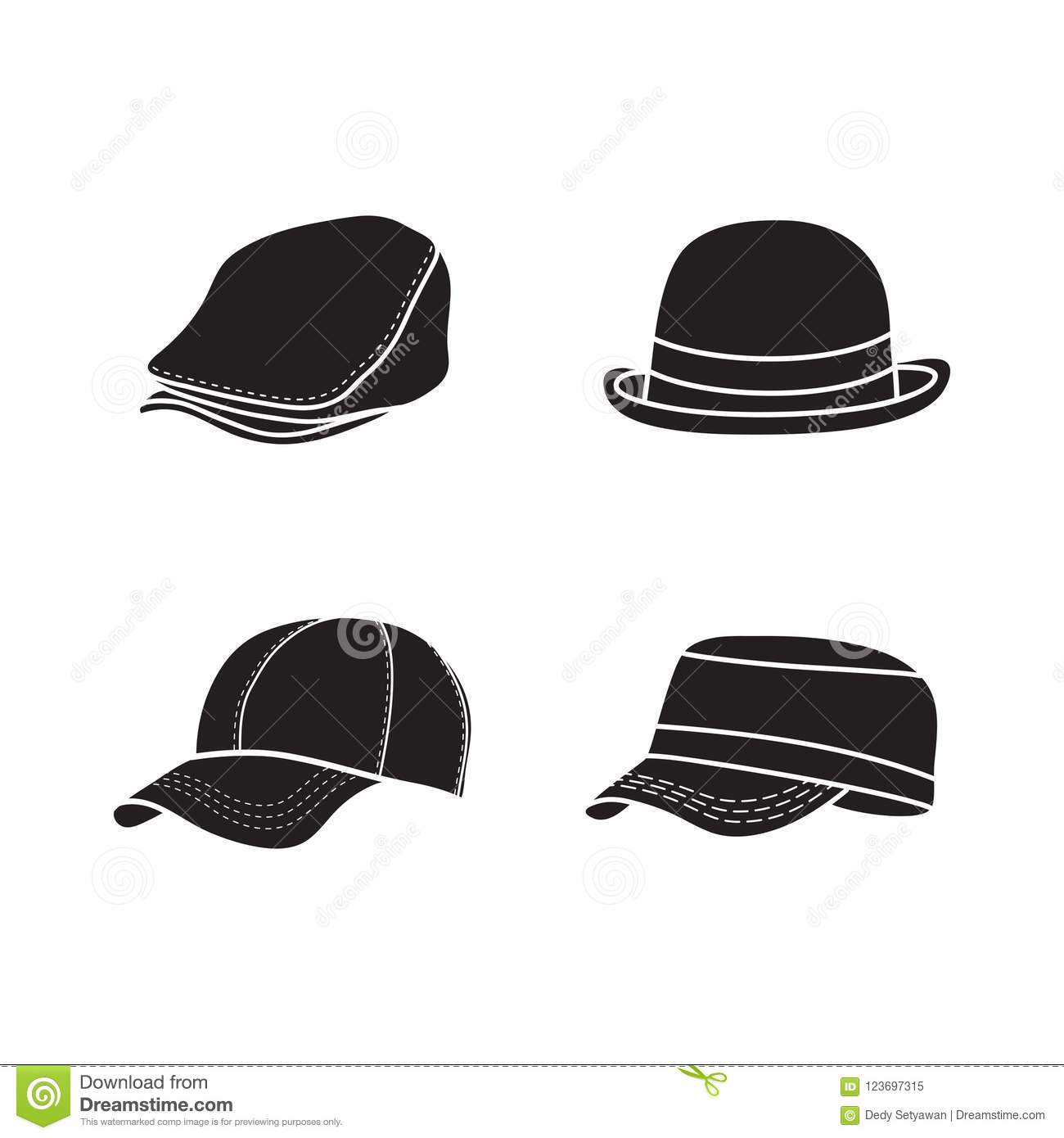 silhouette hat vector simple cap icon design stock vector