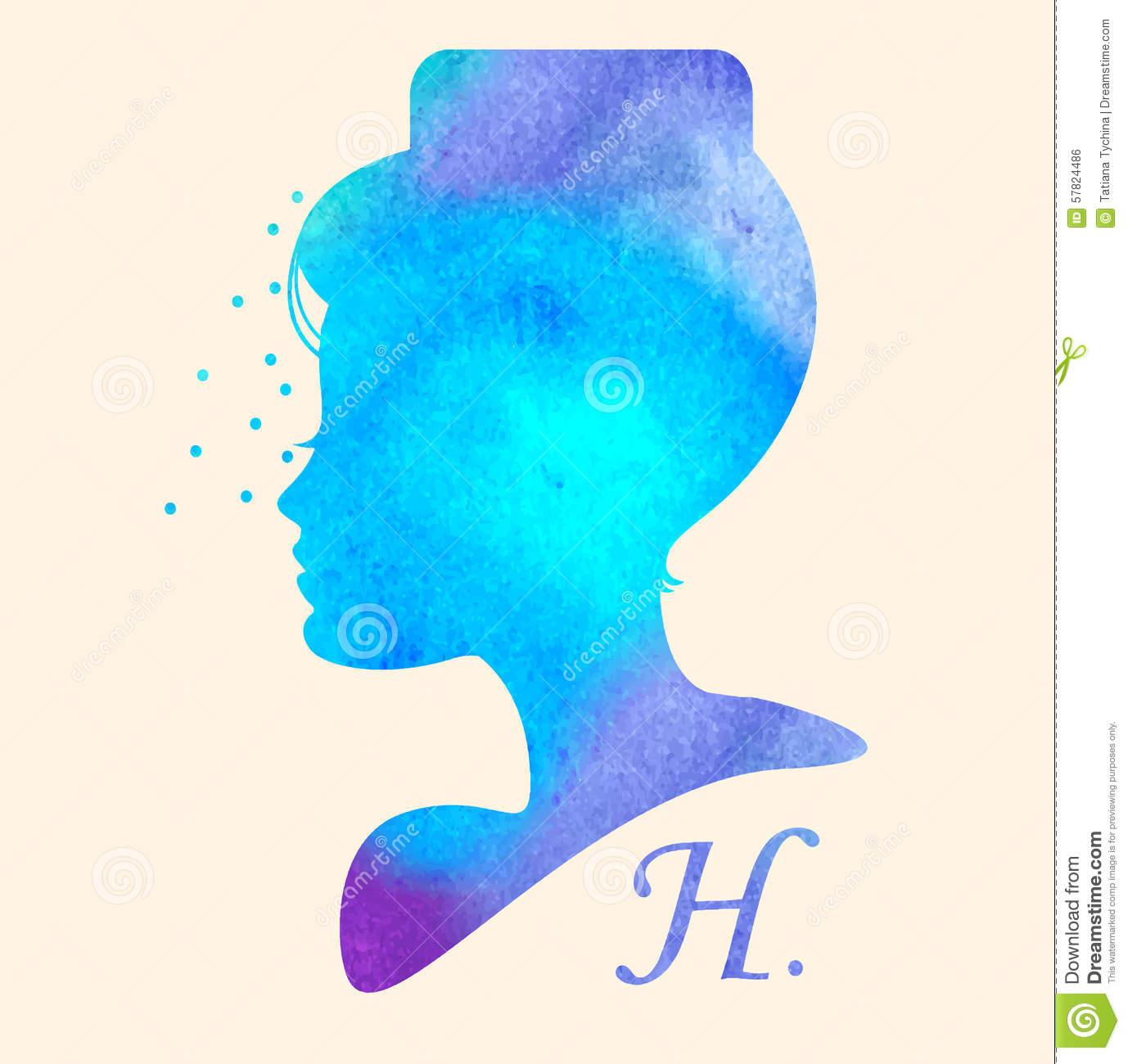 silhouette head with watercolor hair  vector illustration of woman beauty salon stock vector