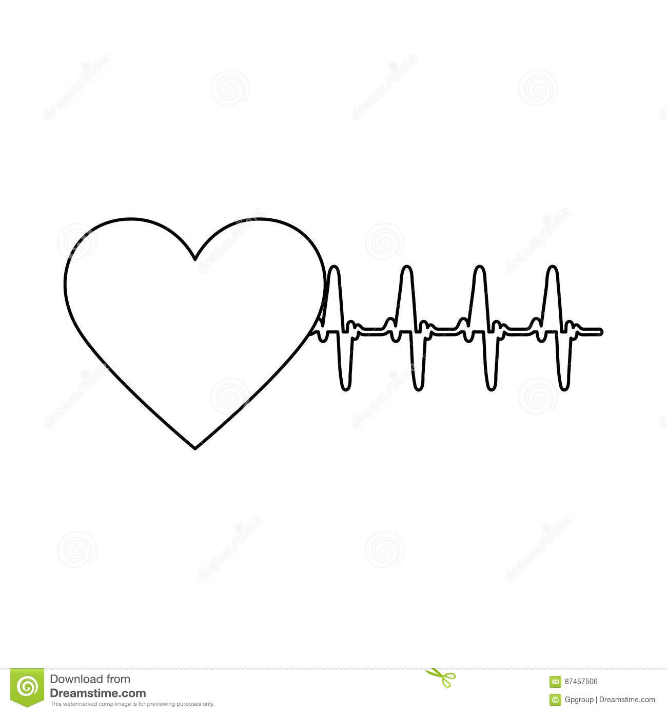 silhouette heart shape with beats and signs life