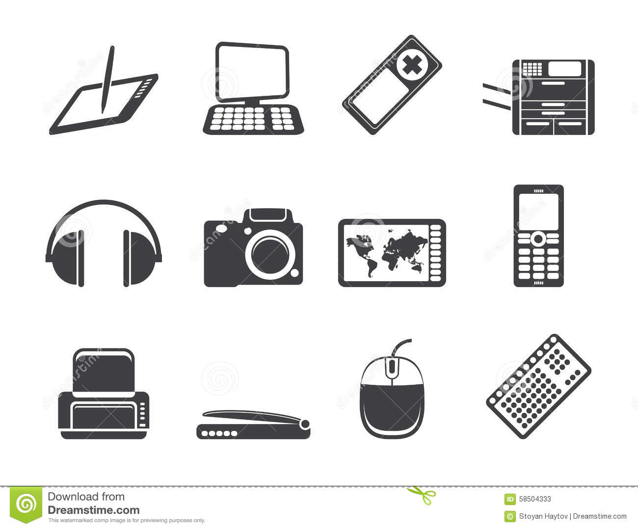 silhouette business  technology communications icons