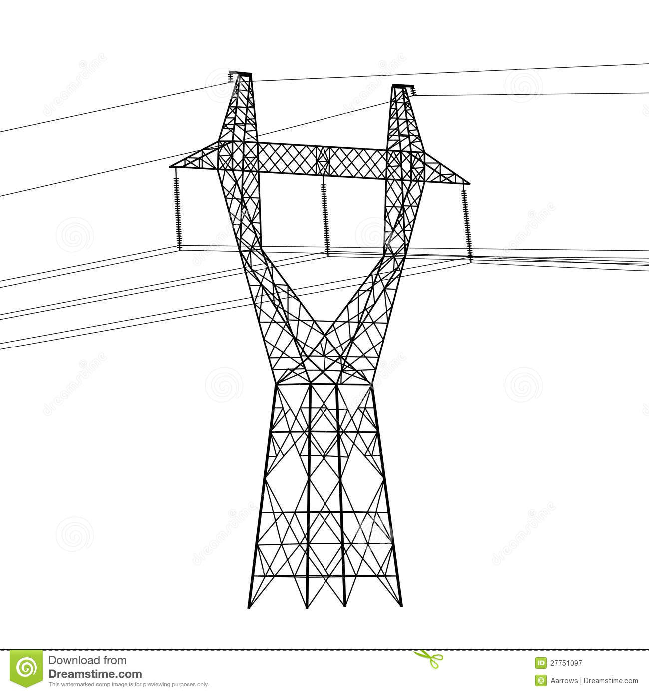 Silhouette Of High Voltage Power Lines Stock Vector Illustration Toyota Hiace Wiring Diagram Stereo