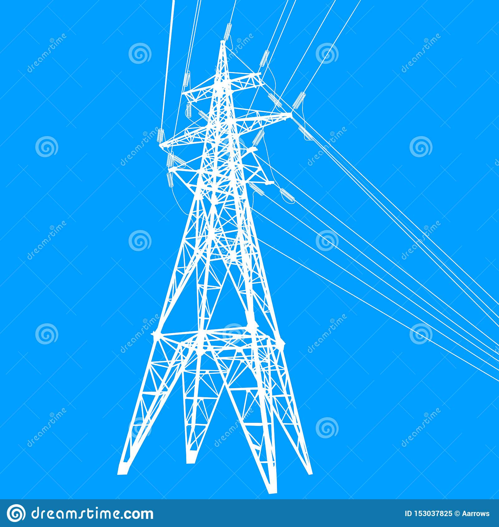Silhouette of high voltage power lines on blue background illustration