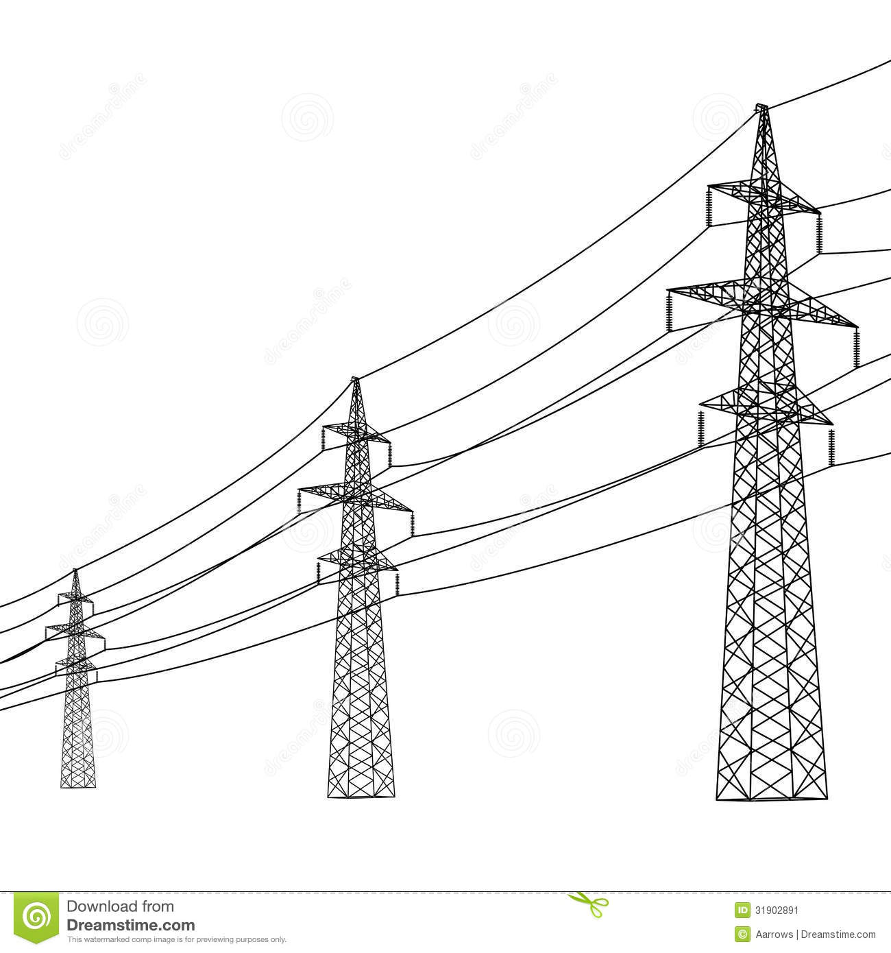 High Voltage Electrical Lines : Silhouette of high voltage power lines stock image