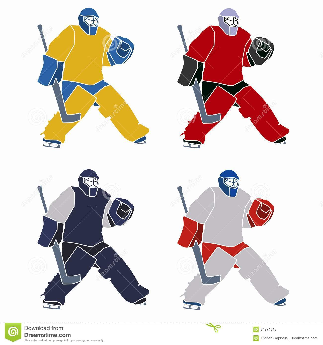 Silhouette Of A Hockey Goalie Vector Drawing Stock Vector