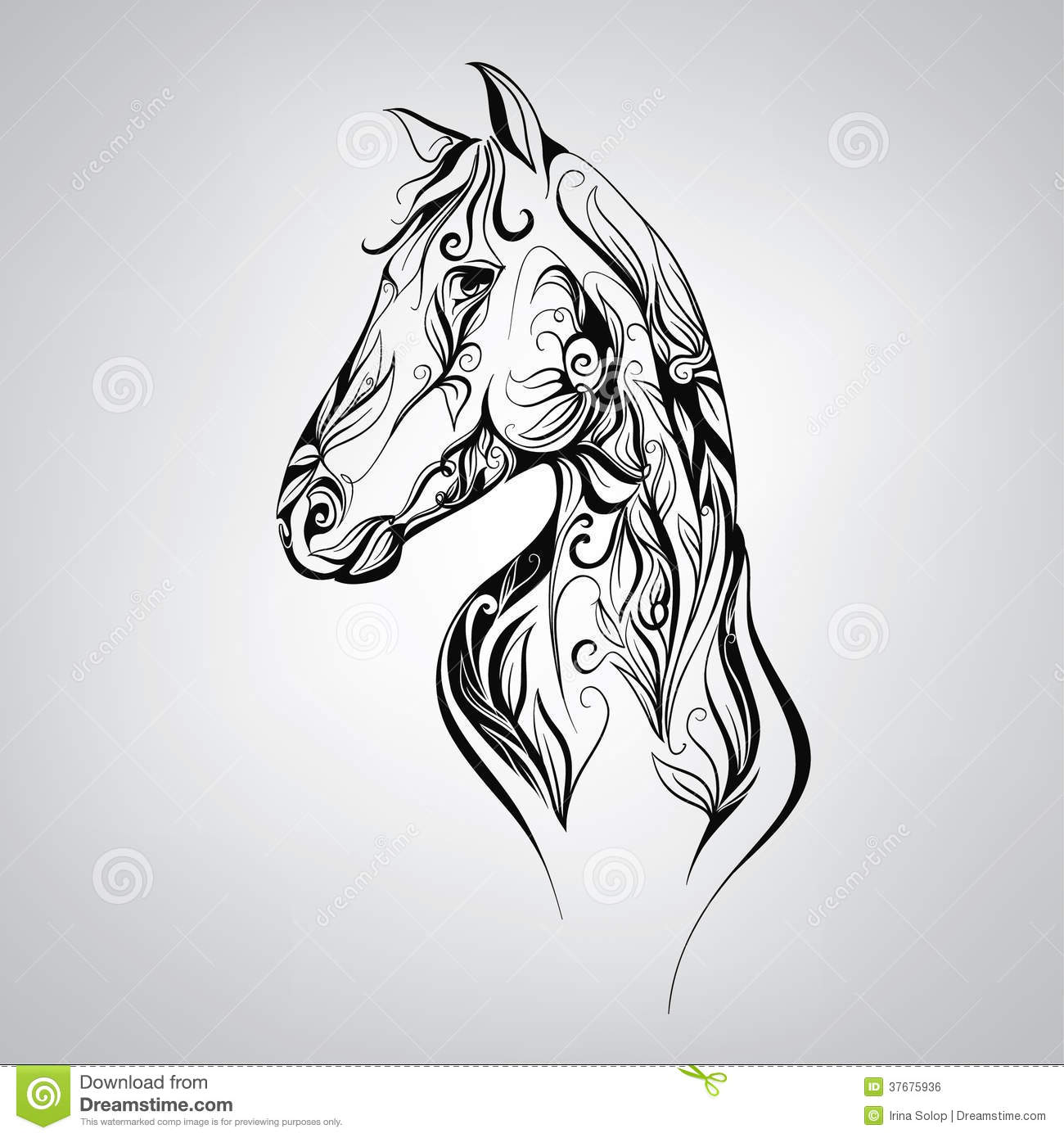 Silhouette Of A Horse In The Patterns Of. Vector ...