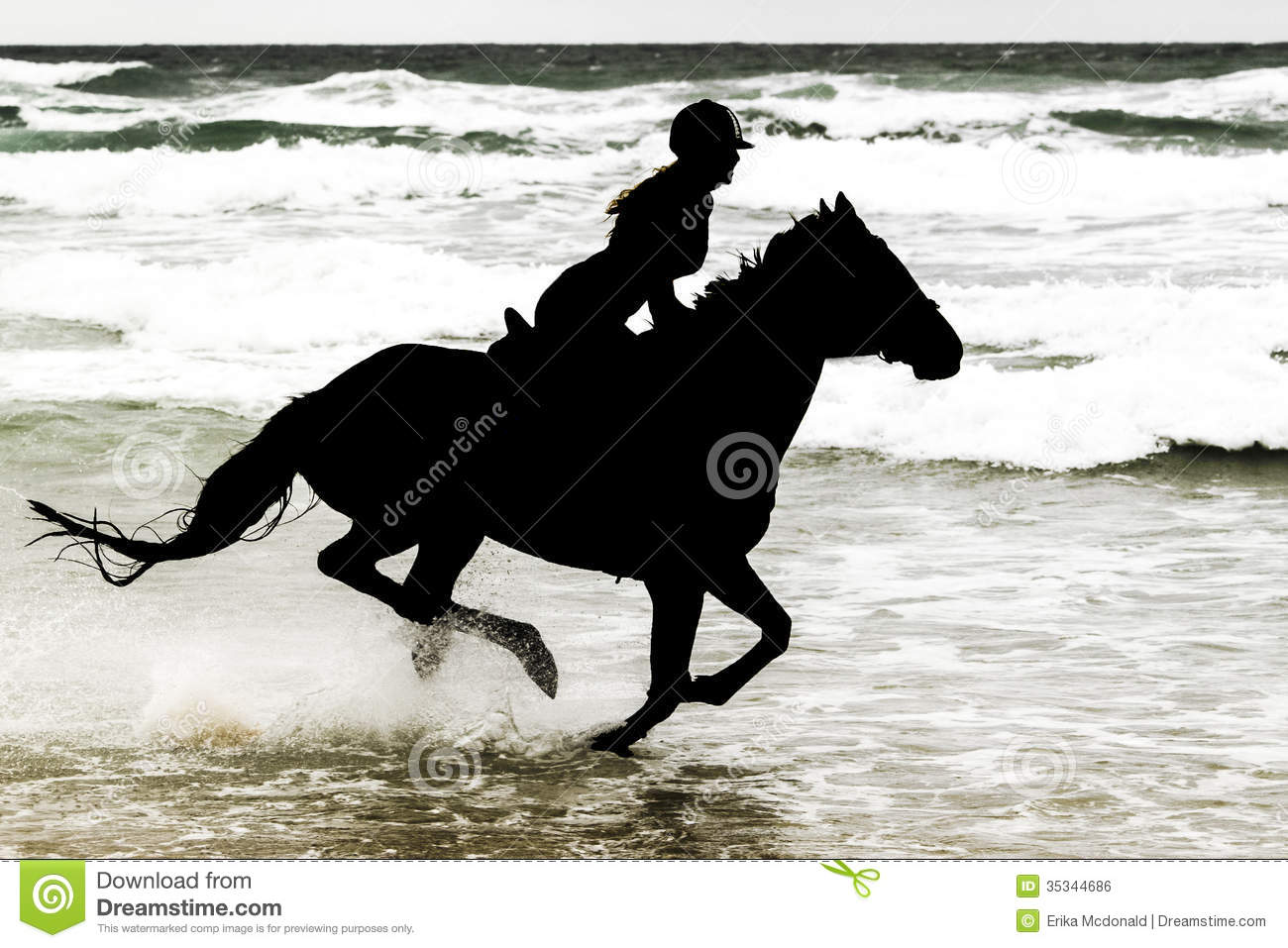 Silhouette Horse And Rider On Beach Royalty Free Stock ...