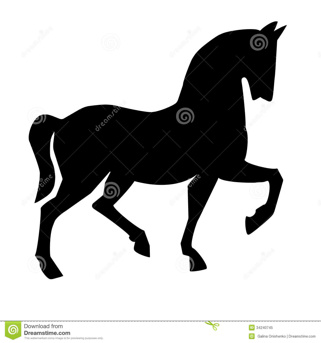 Silhouette Of Horse On A White Background Stock