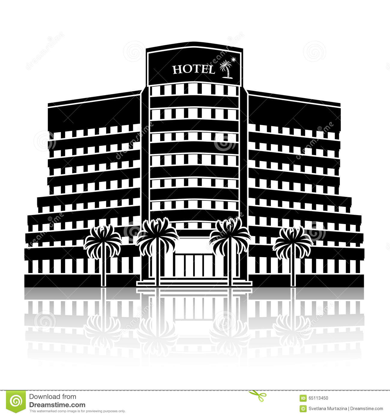 silhouette hotel building palm trees reflection white background 65113450