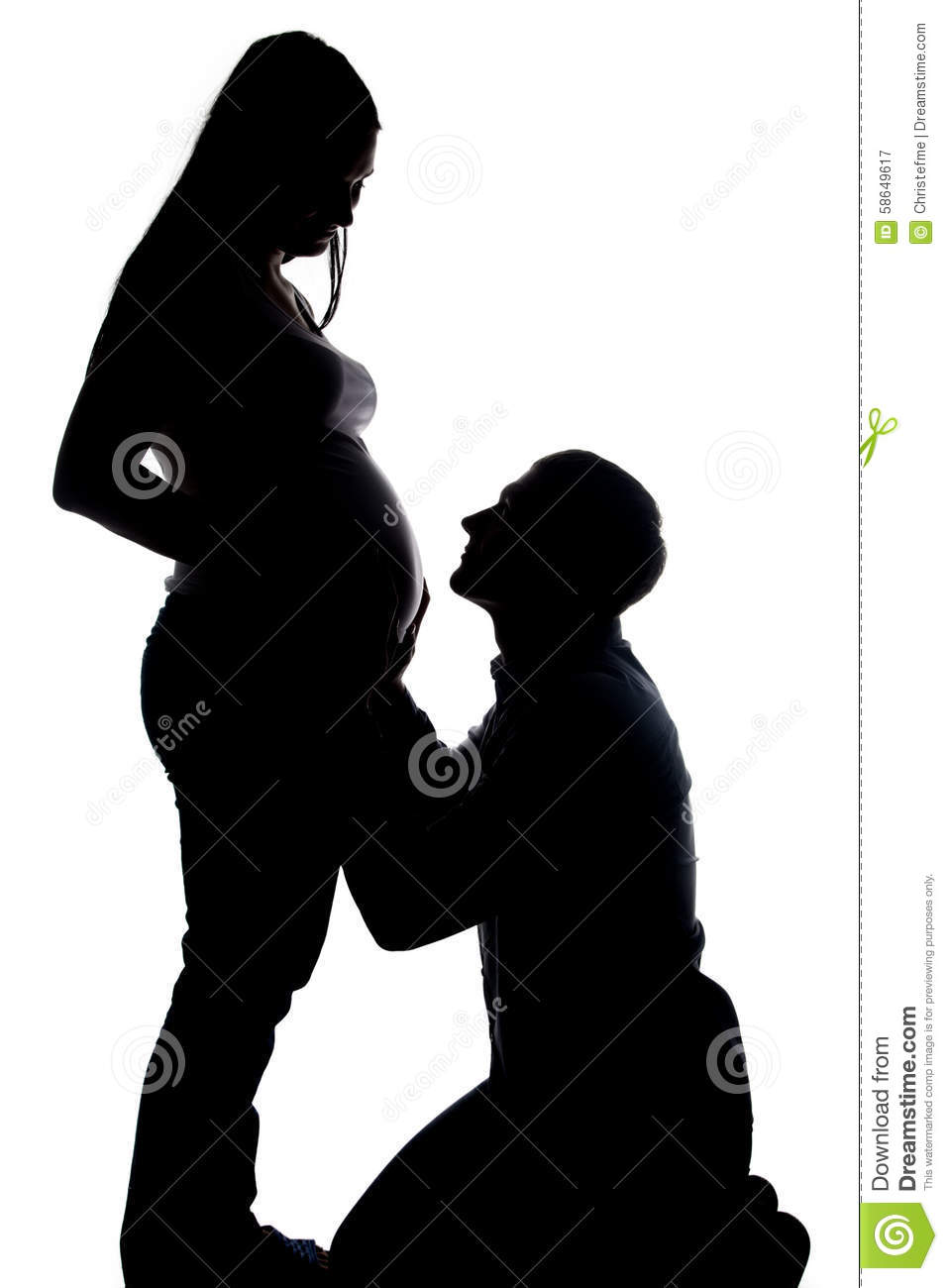 Husband and wife silhouette speaking