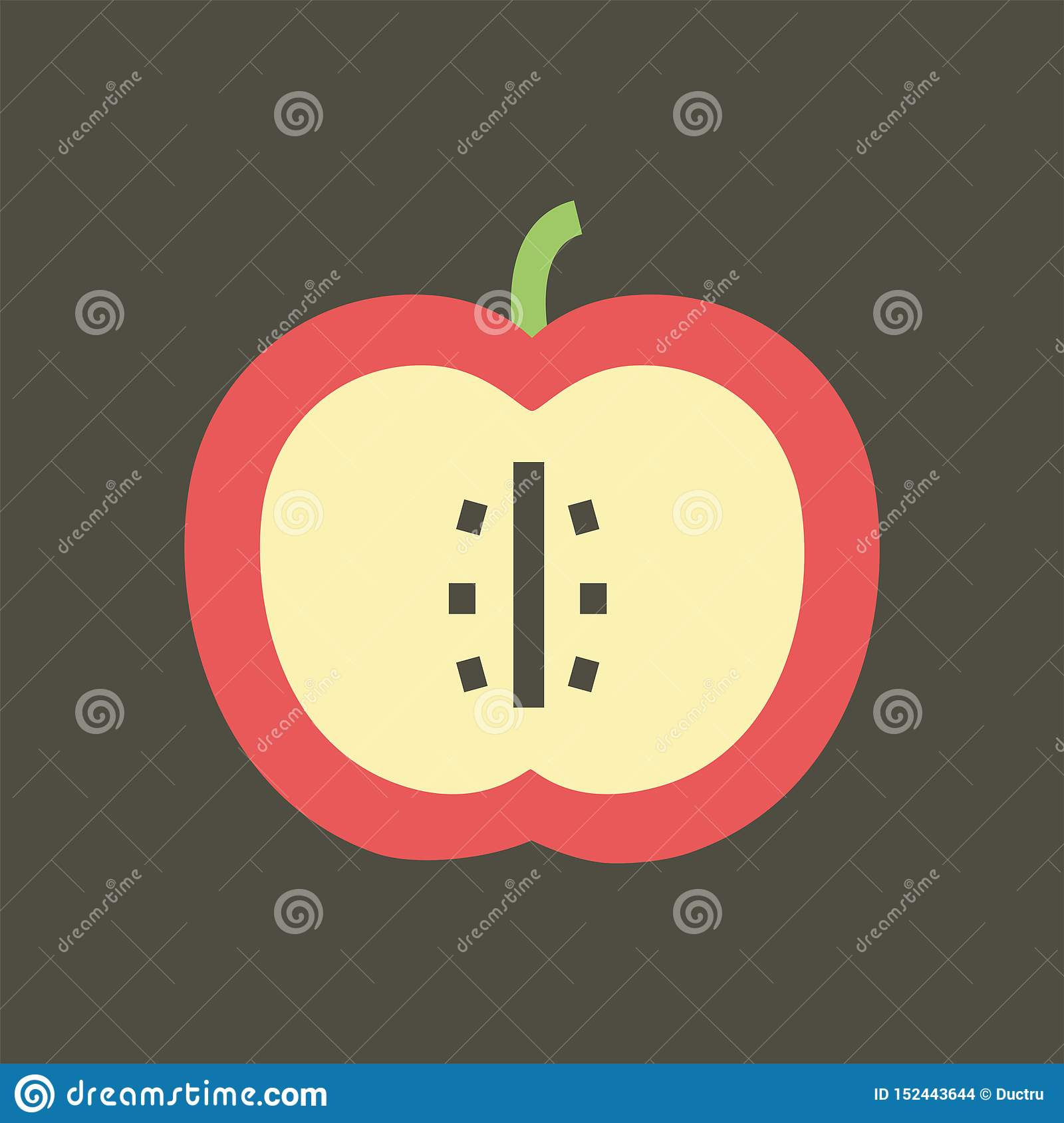 Simple vector illustration with ability to change. Silhouette icon sliced apple