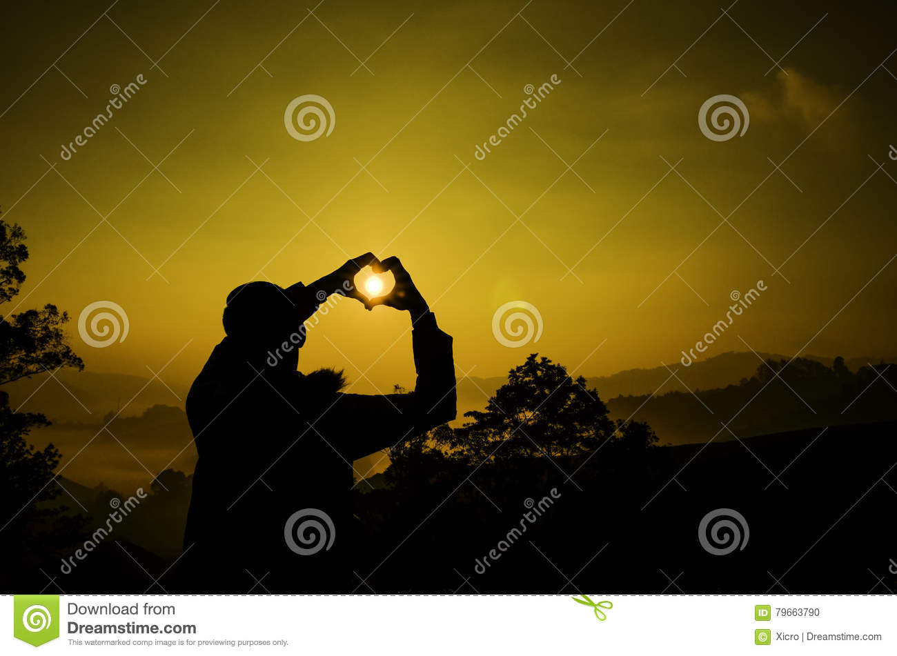 Silhouette Image A Man Create Love Symbol With Hand Stock Photo
