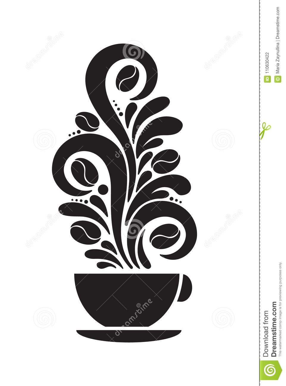 Silhouette Image Of One Morning Coffee Cup With Steam And