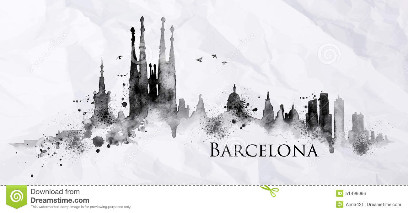 Silhouette Barcelona city painted with splashes of ink drops streaks ...