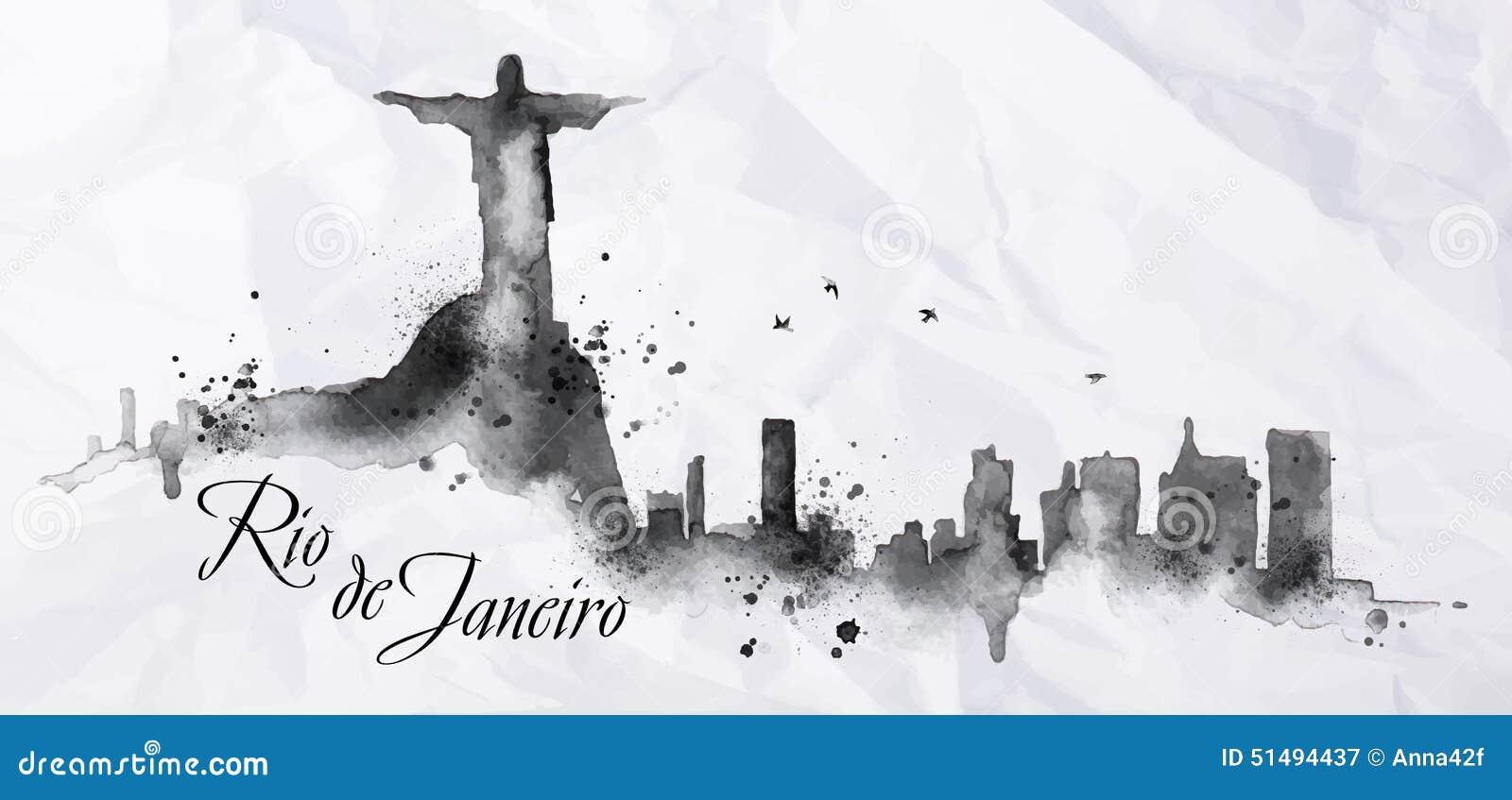 Silhouette Ink Rio De Janeiro Stock Vector Image 51494437