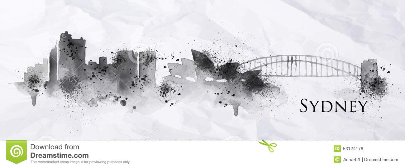 Silhouette Ink Sydney Stock Vector Image 53124176