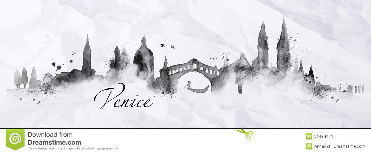 Silhouette Ink Venice Stock Vector Image 51494471